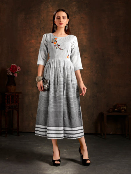 Pure Cotton Chex Hand Embroidered Dress