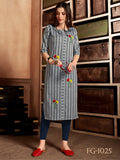 Pure Cotton Hand Embroidered Straight Cut Kurti