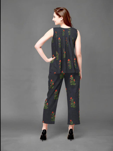 Pure Cambric Cotton Flower Printed Top with Pant
