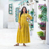 Mustard Pure Maslin Digital Printed long Gown