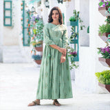 Sage Green Pure Maslin Digital Printed long Gown