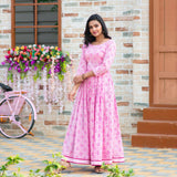 Pink Pure Maslin Digital Printed Long Gown