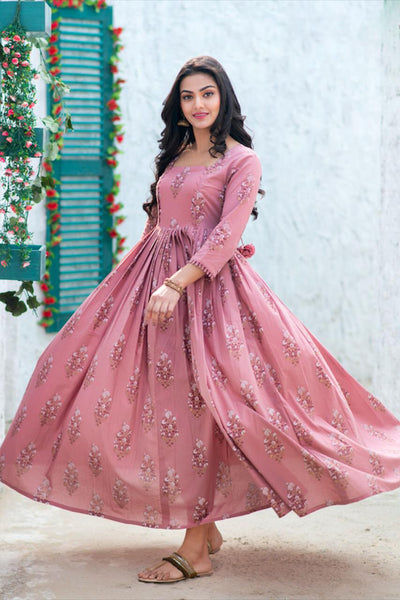 Mauve Pure Maslin Digital Printed Long Gown