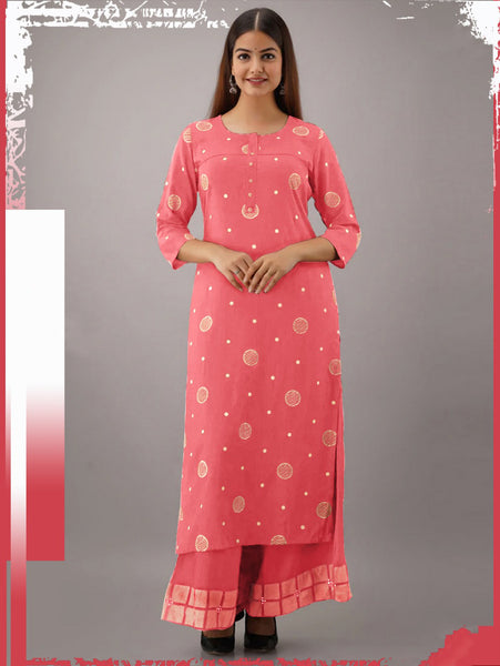 Designer Rayon Cotton Thread Worked Straight Cut Kurti with Palazzo
