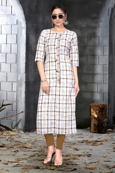 Designer Slub Cotton Chex Printed Straight Cut Kurti