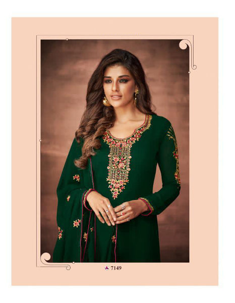 Beautiful Faux Georgette Thread Worked Straight Cut Suit