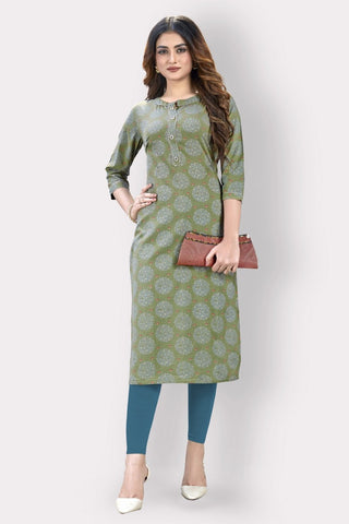 Olive Green Cotton Printed Straight Cut Kurti