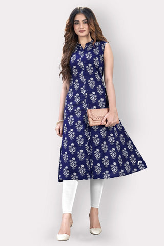 Blue Cotton Printed Anarkali Kurti