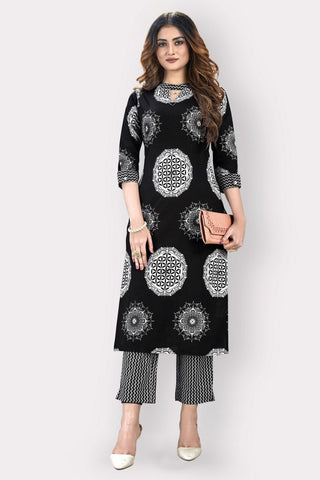 Black Cotton Blend Printed Kurti with Palazzo