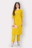 Mustard Cotton Blend Printed Kurti with Palazzo