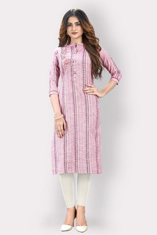 Purple Cotton Printed Straight Cut Kurti