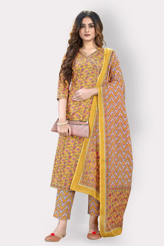 Mustard Cotton Printed Straight Cut Suit