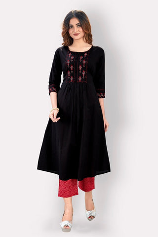 Black Cotton Embroidered Kurti with Palazzo