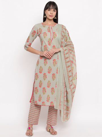 Grey Cotton Printed Straight Cut Suit