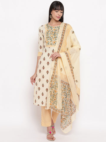Cream Cotton Printed Straight Cut Suit