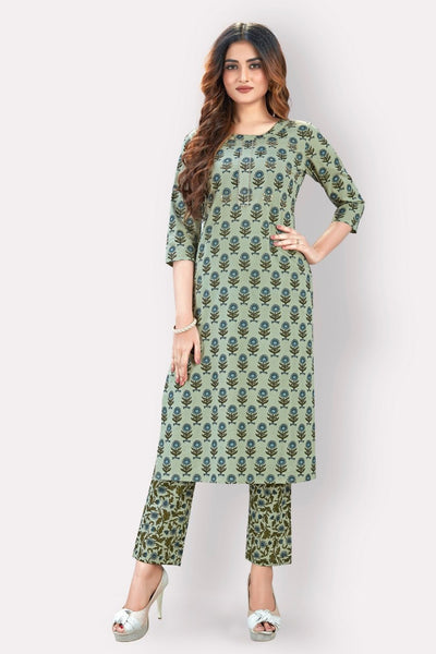 Green Color Cotton Printed Kurti with Palazzo