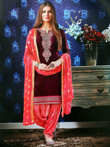 Designer Satin Cotton Embroidered Patiala Suit