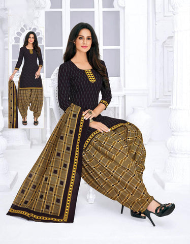 Black Cambric Cotton Printed Patiala Suit