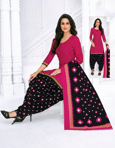 Pink Cambric Cotton Printed Patiala Suit