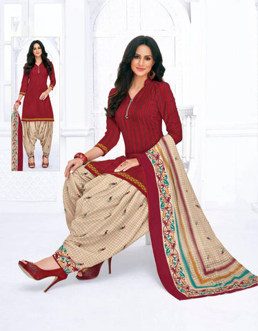 Maroon Cambric Cotton Printed Patiala Suit