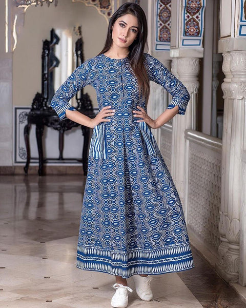 Designer Pure Maslin Digital Printed Gown