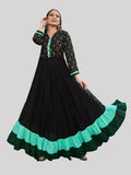 Black and Green Heavy Rayon Foil Printed Gown