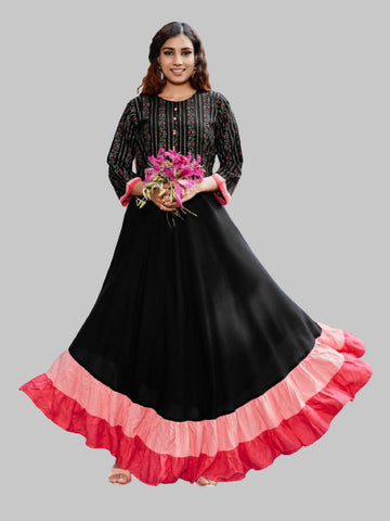 Black and Pink Heavy Rayon Foil Printed Gown