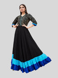 Black and Blue Heavy Rayon Foil Printed Gown
