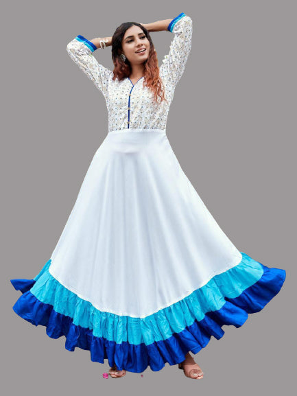 White and Blue Heavy Rayon Foil Printed Gown