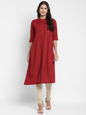 Maroon Cotton Solid Anarkali Kurti