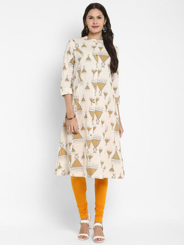 Cream Cotton Printed Anarkali Kurti