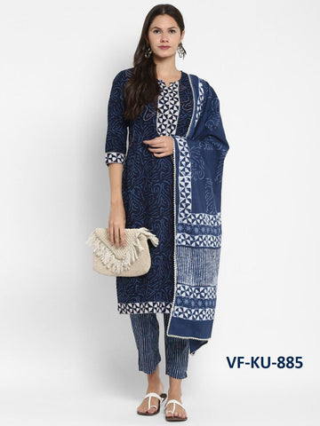 Blue Pure Cotton Printed Straight Cut Suit