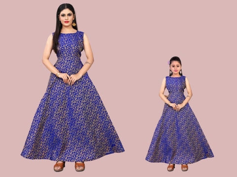 Blue Color Mother and Daughter Gown Combo