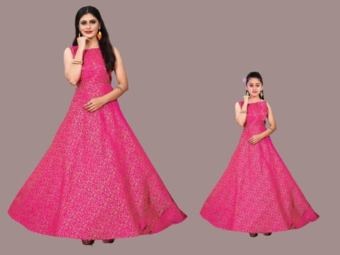 Pink Color Mother and Daughter Gown Combo