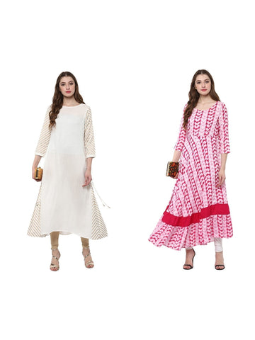 Set of Two Kurta in White and Red Color