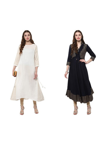 Set of Two Kurta in White and Black Golden Print