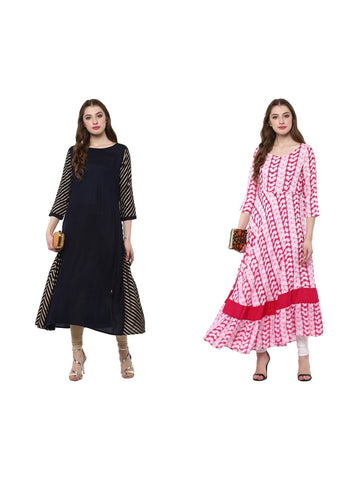 Set of Two Anarkali Printed Kurta in Black and Red Color