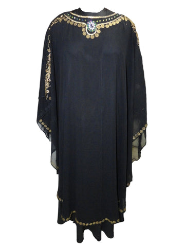 Black Colour Daimond Stone Work Lycra & Georgette Fully Stitched Burkha with Shoulder Viel Style