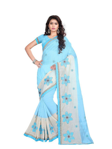 Chanderi Cotton Sky Blue Embroidered Saree With Blouse