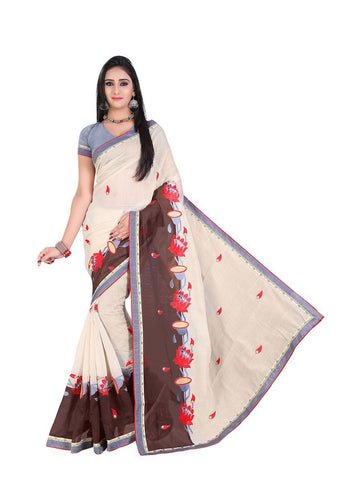 Chanderi Cotton Beige Embroidered Saree With Blouse