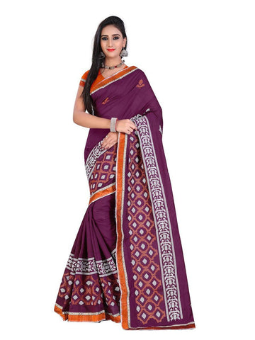 Chanderi Cotton Magenta Embroidered Saree With Blouse