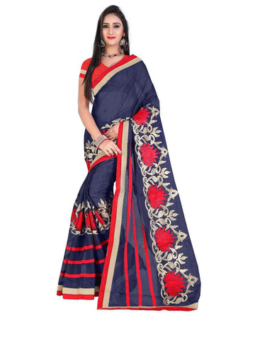 Chanderi Cotton Navy Blue Embroidered Saree With Blouse