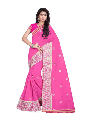 Chanderi Cotton Pink Embroidered Saree With Blouse