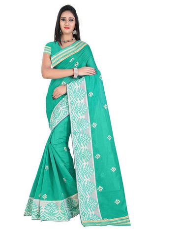 Chanderi Cotton Green Embroidered Saree With Blouse