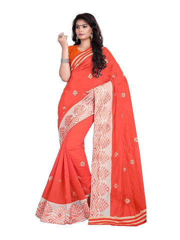 Chanderi Cotton Orange Embroidered Saree With Blouse