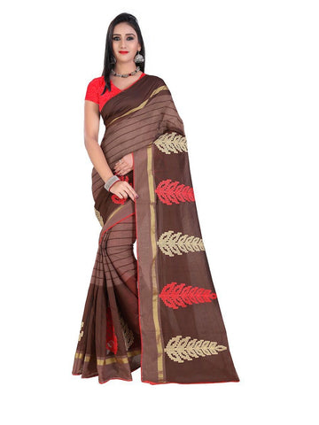 Chanderi Cotton Brown Embroidered Saree With Blouse