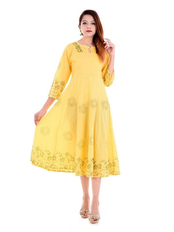 (Medium Size) Designer Anarkali Kurti Yellow Color Cotton in Handblock Print