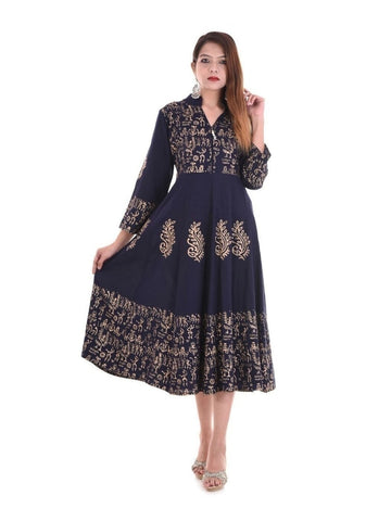 (Medium Size) Designer Anarkali Kurti Navy blue Color Rayon in Handblock Print kurtis