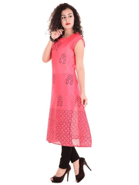 M Size Beautiful Printed Pink Chanderi Silk Kurtis
