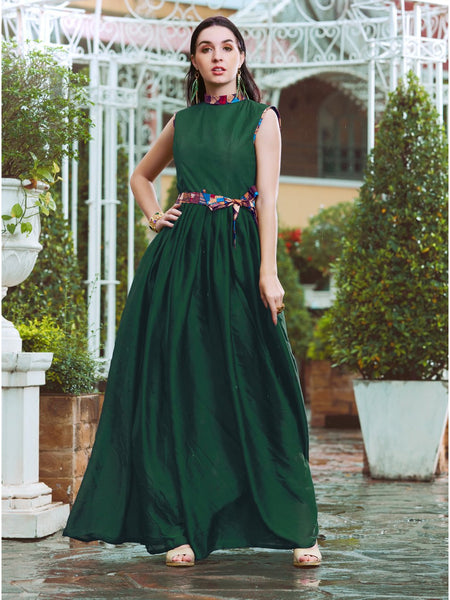 Designer and Beautiful Dark Green Color Gown